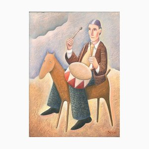Tamburino a Cavallo - Original Oil on Wooden Panel by C. Benghi - 2000s