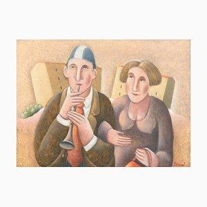 Primo Flauto e Signora - Original Oil on Wooden Panel by C. Benghi - 2000s