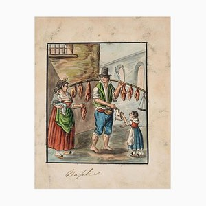 The Butcher - Original Ink and Watercolor by Anonymous Neapolitan Master - 1800 Early 20th Century