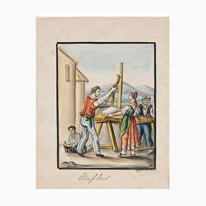 Naples - Original Ink and Watercolor by Anonymous Neapolitan Master - 1800 Early 20th Century