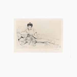 Portrait of Noblewoman - Original Etching by J. Coraboeuf - Early 20th Century Early 20th Century