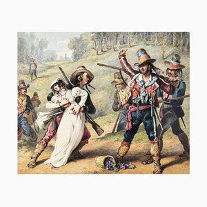 The Kidnapping - Original Ink and Watercolor by Neapolitan Master - 1800 19th Century