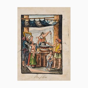 Food Seller - Original Ink and Watercolor by Anonymous Neapolitan Master - 1800 Early 19th Century