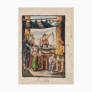 Food Seller - Original Tinte und Wasserfarbe von Anonymous Neapolitan Master - 1800 Frühe 19. Jahrhundert
