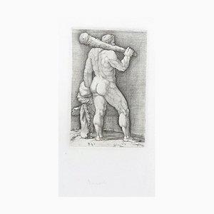 Heracles with the Club - Original Radierung von Anonymous Master 17. Jahrhundert 17. Jahrhundert