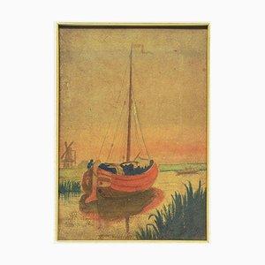 Paisaje de lago con barco - Acuarela original sobre cartulina de M. Carion - años 30