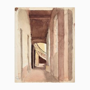Glimpse - Original Watercolor by J. Hébert - Late 19th Century late 19th Century