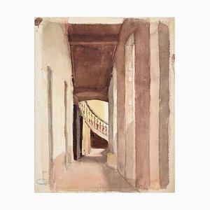 Glimpse - Watercolor originale di J. Hébert - Fine XIX secolo, fine XIX secolo