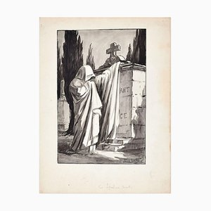 Les Sepulcres Secrets - Ink and Watercolor Drawing by Jean Torthe - Mid 1900 Mid 20th Century