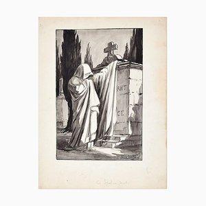 Les Sepulcres Secrets - Tusche und Wasserfarbe Zeichnung von Jean Torthe - Mid 1900er Mid 20th Century
