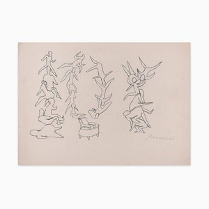 Body Shapes - Original Charcoal Drawing by M. Maccari - 1970s 1970s