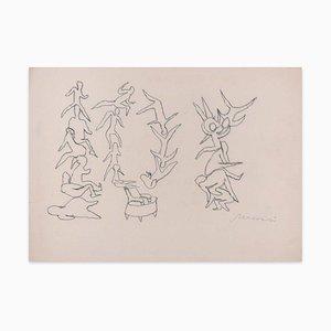 Body Shapes - Original Charcoal Zeichnung von M. Maccari - 1970s 1970s