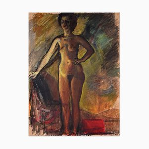 Nudes - Tempera and Carboard on Paper - Early 20th Century Early 20th Century