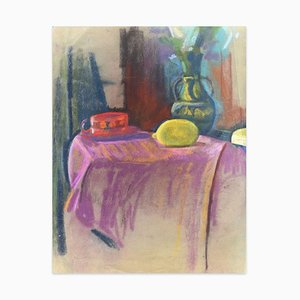 Still Life with Lemon and Hat - Oil Paste and Chalk Drawing - Late 19th Century Late 19th Century