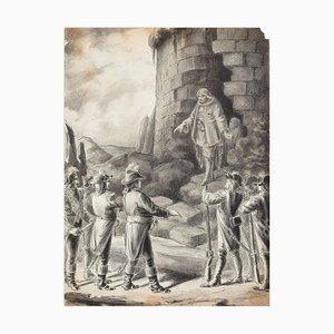 Scène de l'Insurrection Vendéenne - Pencil Drawing 19th Century 19th Century
