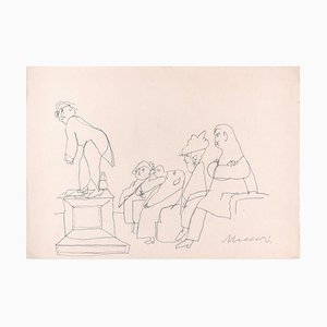 Spettacolo - Original Pen Drawing by M. Maccari - Mid 20th Century Mid 20th Century