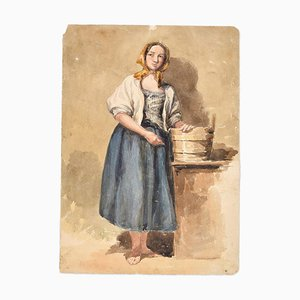 Country Woman -Original Ink and Watercolor by A. Aglio - Early 19th Century Early 19th Century