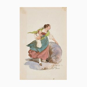 Woman - Original Ink Drawing and Watercolor by G. Dura - 19th Century 19th Century