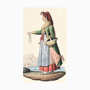 Procida - Original Ink Watercolor by M. De Vito - Early 1800 Early 19th Century