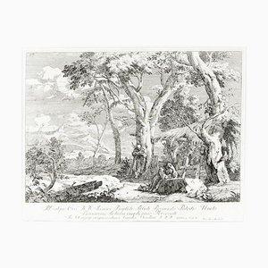 Gravure à l'Eau-Forte Landscape With Two Hermits par Marco Ricci - 1730 1730
