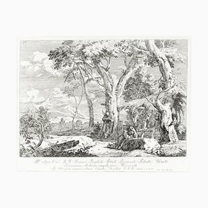 Landscape With Two Hermits - Original Etching by Marco Ricci - 1730 1730