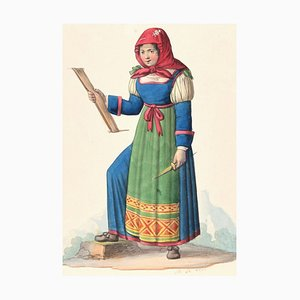 Woman in Costume - Original Ink Watercolor by M. De Vito - Early 1800 Early 19th Century