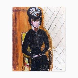 Woman in Black - Original Tempera on Paper by Caroline Hill - 1970s 1970s