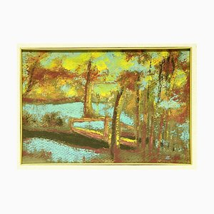 TheLake - Original Tempera on Cardboard by Marius Carion - 1940s 1940s
