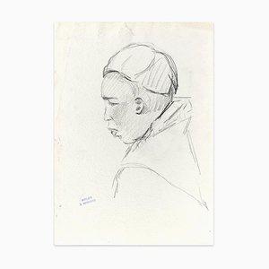 A Monk - Original Anthrazit Zeichnung von J. Bernard - Frühe 1900 Früh 1900