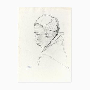 A Monk - Original Charcoal Drawing by J. Bernard - Early 1900 Early 1900