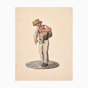 Acquaiolo in Strada - Original Ink and Watercolor - 1828 1828