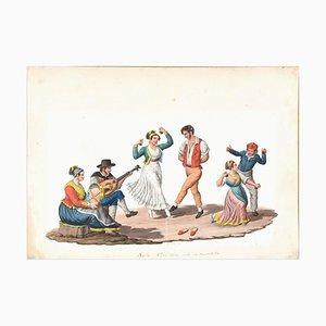 Tarantella - Original Watercolor by M. De Vito - 19th Century 1820 c.a.