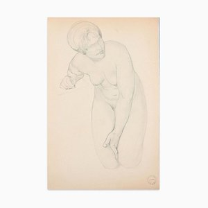Kneeling Nude - Original Pencil Drawing by Paul Garin - Mid 20th Centur Mid 20th Century
