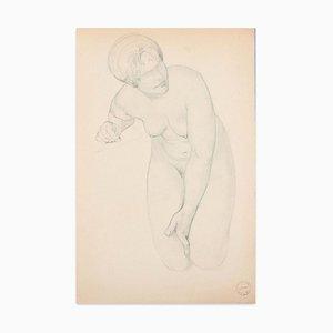 Kniend Akt - Original Bleistift Zeichnung von Paul Garin - Mid 20th Century Mid Mid 20th Century