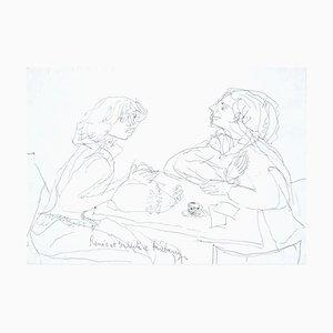 Roméo et Juliette - Original Pen Drawing by Jeanne Daour - Mid 1900 Mid 20th Century