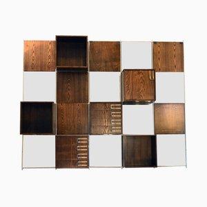 Modulares Wandsystem aus Holz mit Spiegeln, 1970er