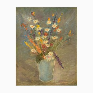 Still life with Flowers - Original Oil on Canvas by C. Quaglia -Mid 20th Century Mid 20th Century