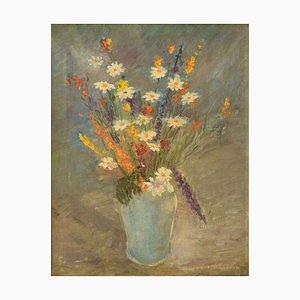 Stillleben mit Blumen - Original Öl auf Leinwand von C. Quaglia -Mid 20th Century Mid 20th Century