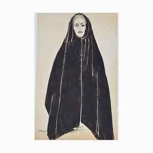 Woman with Black Mantel - Tusche & Aquarell Zeichnung von F. David - 1949 1949