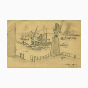 London Harbour - Original Charcoal Drawing by RL Antral - 1930s 1930s