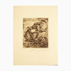 Ex Libris Ernest Monteux - Etching by M. Fingesten - 1930s 1930s