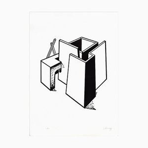 Architectural Construction - Original Lithograph by Ivo Pannaggi - 1975 ca. 1975 ca.