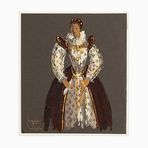 Study for Theatrical Costume - Original Tempera on Cardboard - Late 20th Century Late 20th Century