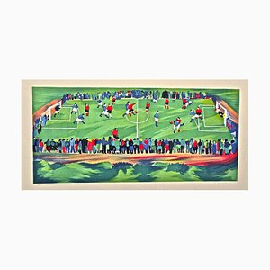 Soccer Pitch - Italy - Original Lithograph by G. Omiccioli - 1973 1973