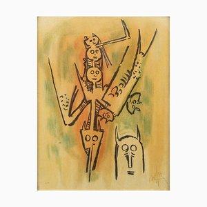 Laissez-moi l'Enjamber - Original Lithograph by W. Lam - 1970s 1970s