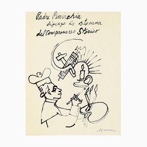 Historischer Kompromiss - Original Aquarell Zeichnung von M. Maccari - 1960 1960