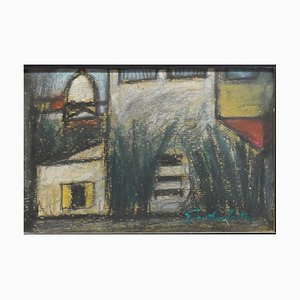 Houses - Original Charcoal Drawing by N. Gattamelata - 1970s 1970s