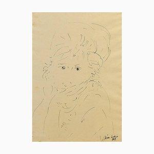 Girl - Original China Ink Drawing by Nino Cordio - 1964 1964