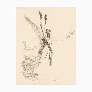 The Lily of Peace - Original Federzeichnung von Marcel Jambon - Spätes 19. Jahrhundert, 19. Jh