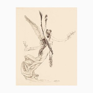 The Lily of Peace - Original Pen Drawing by Marcel Jambon - Late 19th Century Late 19th Century